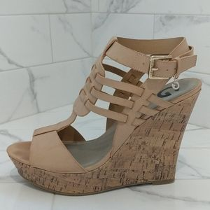 G by Guess nude sandal wedge heel